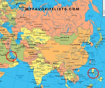 Manila Doha world map